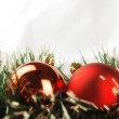 Seasonal background with Christmas decorations - Stock Photo