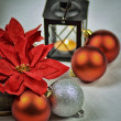 Seasonal background with Christmas decorations — 图库照片
