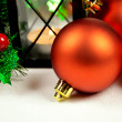 Seasonal background with Christmas decorations — Stock Photo