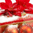 Royalty-Free Stock Photo: Christmas balls with gift box