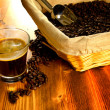 Foto Stock: Espresso coffee with coffee beans