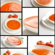 Collage of tomato soup - Stock Photo