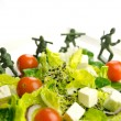 Stock Photo: Diet and weight loss war with healthy food