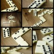 Foto Stock: Domino pieces photo composition