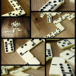 Domino pieces photo composition - Stock Photo
