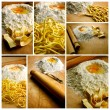 Italian fresh pasta photo composition - Stock Photo