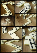 Domino pieces photo composition — Stock Photo