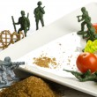 Diet and weight loss war with healthy food - Stok fotoğraf