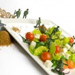 Diet and weight loss war with healthy food - Stock Photo