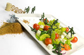 Diet and weight loss war with healthy food — Stock Photo