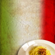 Italian flag pasta carbonara - Stock Photo