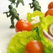 Foto Stock: Diet and weight loss war with healthy food