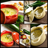 Vegetables soup composition — Stock Photo