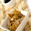 Chinese food, beef with bamboo and mushrooms - Foto Stock