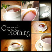 Tazza di tè, collage di foto — Foto Stock