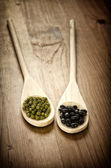 Soybeans and black beans in wooden spoons — Stock Photo