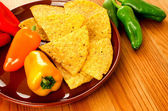 Nachos with peppers — Stock Photo