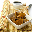 Stock Photo: Chinese food, beef with bamboo and mushrooms