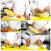 Chef hands photo collage — Foto Stock