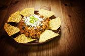 Nachos e chili con carne — Foto Stock
