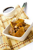 Chinese food, beef with bamboo and mushrooms — Stock Photo