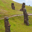 Stock Photo: Moais at Rano Raraku volcano, Easter island, Chile