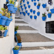 Flowerpots in an Andalusian town - Stock Photo