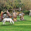 Figures representing Christmas nativity scene in Florida park, Vitoria, Basque Country, Spain — Stock Photo