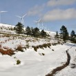 Wind turbines farm in winter, Elgea range (Basque Country) — Stock Photo