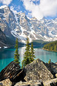 Moraine Lake, Rocky Mountains (Canada) — ストック写真