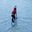 Young athlete in a canoe - Foto Stock