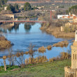 Tajo river and hermitage of Cristo de la Vega, Toledo (Spain) - Stock Photo