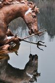 Fonte de corrida de cavalos no palácio de la granja de em san ildefonso, espanha — Foto Stock