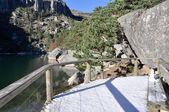 Boardwalk at Laguna Negra, glacial lake in Soria (Spain) — Stock Photo