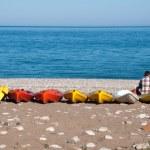 Canoes at Cirali beach, Turkish Riviera — Stock Photo #26516405
