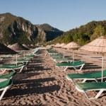 Hammocks and parasols, Beach at Cirali (Turkish Riviera) — Stock Photo