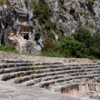 Ancient amphitheater and Lycian tombs in Myra (Turkey) — Stock Photo #26517683