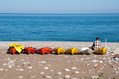 Canoes at Cirali beach, Turkish Riviera — Stock Photo