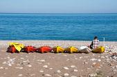 Canoas en la playa de cirali, riviera turca — Foto de Stock
