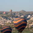 Hot air balloon fly over Cappadocia on April 30, 2013 in Cappadocia, Turkey. - Stock Photo
