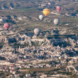 Stock Photo: Hot air balloon fly over Cappadocion April 30, 2013 in Cappadocia, Turkey.