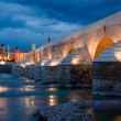 Roman Bridge and Mosque of Cordoba at night (Spain) — Stock Photo