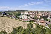 Stadt von Elciego und das moderne Weingut Marques de riscal am 26. Mai 2013 in Elciego, Baskenland, Spanien — Stockfoto