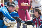 End of a fight on the World Championship of Medieval Combat on May 2, 2014 in Belmonte, Cuenca, Spain — Stock Photo