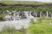 Hraunfossar vodopád, island — Stock fotografie