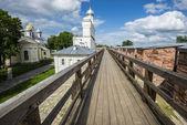 Parede de kremlin de novgorod em veliky novgorod, rússia — Foto Stock
