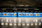 Train leaves Fridhemsplan metro station, Stockholm (Sweden) — Stock Photo