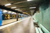 Train leaves Stadion metro station of Stockholm, Sweden — Stock Photo