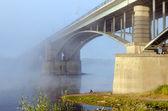 Stone and steel bridge — Stock Photo