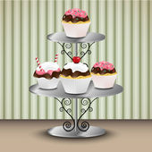 Cupcakes on the stand — Stock Vector